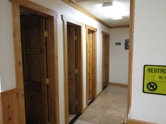 Buffalo, WY: interior of shower/restroom/laundry building