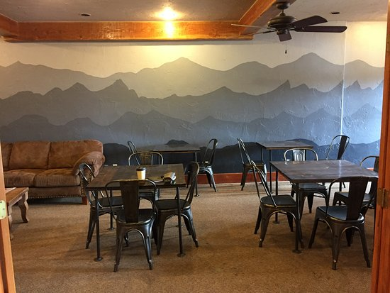 River Pointe Coffee House : Our new, painted by hand mountain mural! Thanks to our wonderful baristas!