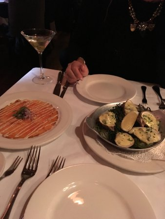 Keens Steakhouse: oysters and cured salmon