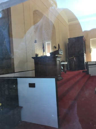 South Dennis, MA: Altar (picture taken through window)