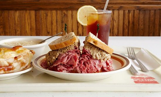 Manny's Cafeteria and Delicatessen : Corned beef topped with chopped liver