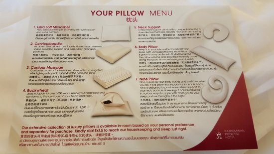 Pillow Menu Picture Of Pathumwan Princess Hotel Bangkok