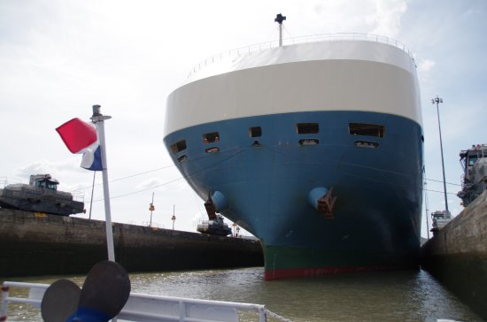 Panama Canal Tours: Joined in the Pedro Miquel Locks by a large car carrier ship