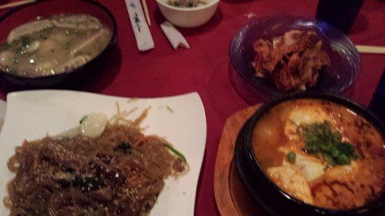 Glens Falls, NY: japchae, tofu soup and mandoo soup