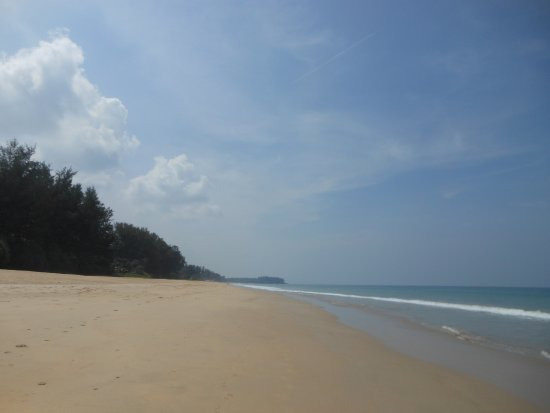 Takua Thung District, Thailand: This is what the beach looks like to the left of the hotel.