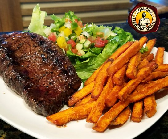 Blacksburg, VA: Tchê Loco, featuring Picanha steak, fried Sweet potatoes and house salad