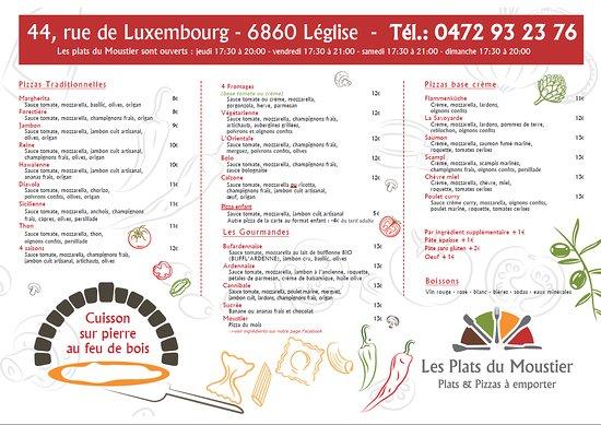 """Leglise, Бельгия: La carte complète """"Pizzas à emporter"""""""