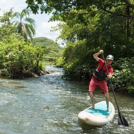 Jinja, ยูกันดา: Sam exploring round the tropical oasis that is the Hairy Lemon Island