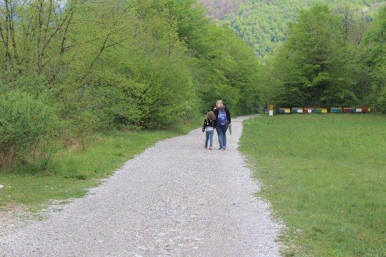 Kozjak Waterfalls: הדרך הירוקה מהחניון לתחילת המסלול