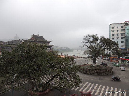 Ya'an, China: View from the window at the end of the passage on our floor - overlooking the bridge area.