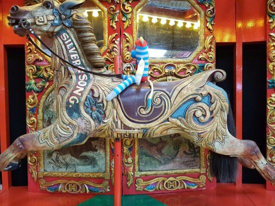 Lifton, UK: Antique carousel horse.