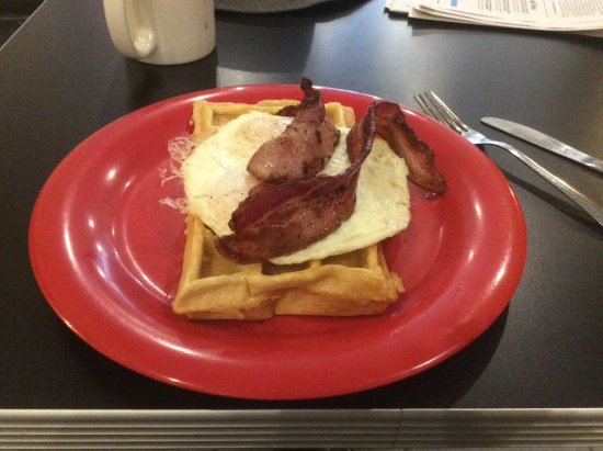 Waffle Frolic: Bacon and eggs