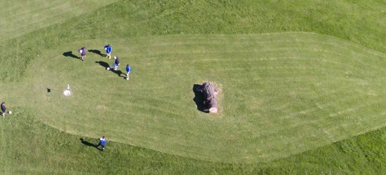 Helston, UK: Players on the 9th Hole of Whealdream Football Golf