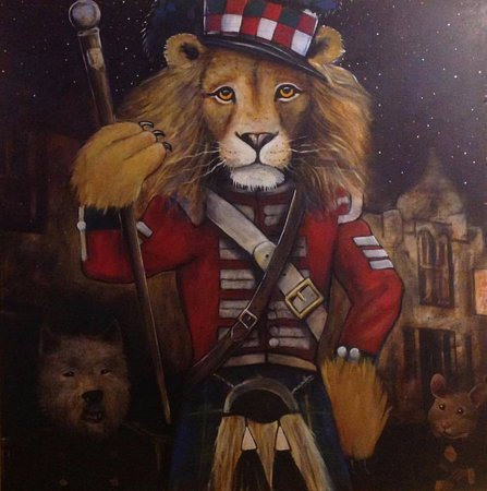 Forres, UK: The 'Red Lion' painted by Steve Simms of Hellygog. Check them out at Logie Steading.