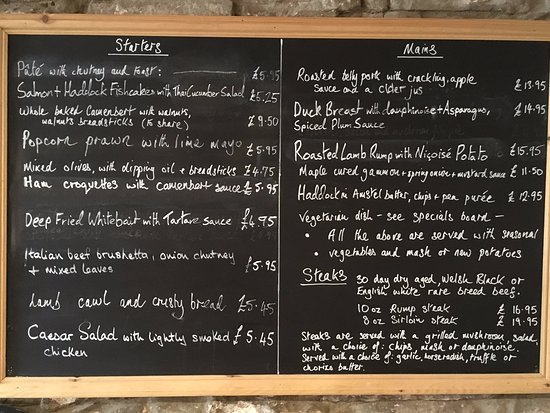 Crickhowell, UK: Menu from April