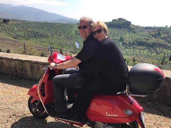 Gaiole in Chianti, Italy: Riding a Vespa in the Tuscan sun.