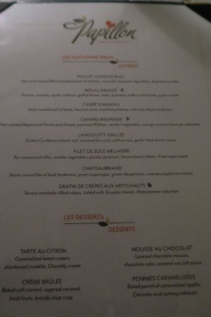 Sandals Royal Plantation: Menu du restaurant Papillon