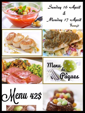 Cupecoy Bay, St. Maarten: Easter menu