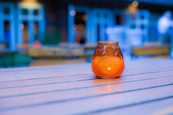 Suderburg, Germany: draußen im Bauerngarten bei Kerzenschein