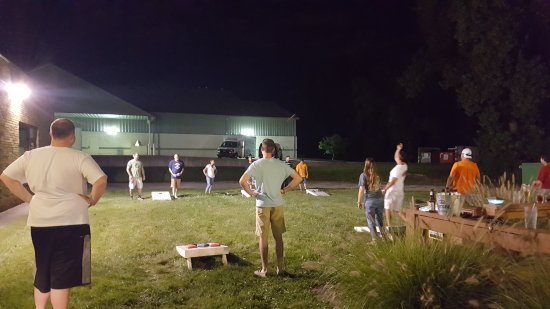 Carmel, IN: Cornhole on a summer night