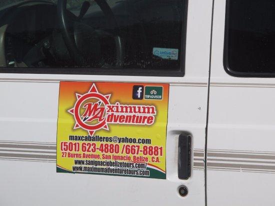 Maximum Adventure Tours: Maximum Aventure Tours logo on one of our two vans