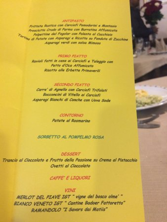 Cazzago di Pianiga, Italia: Il menù di Pasqua