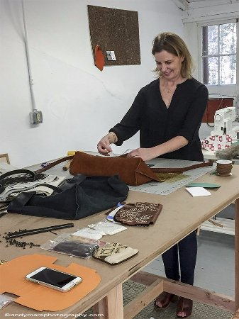 Avon, CT: Artist In Residence, Carolyn Mackenzie creates leather handbags