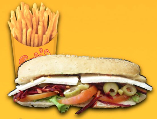 Tubarao, SC: Sub-Vegetariano: Aos veganos! Tomate, cenoura, beterraba, azeitona e alface! Ad. Fritas: R$4,00