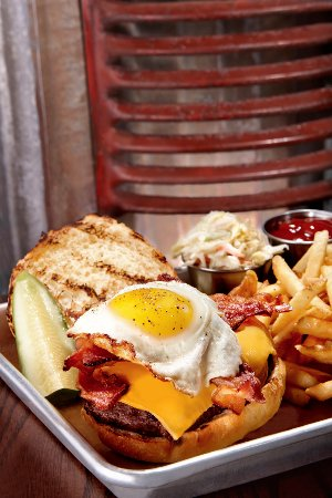 Westport, CT: Bacon, Egg, and Cheese Burger served with fries, rings, or salad