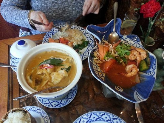 Thai Emerald: Monkfish red curry and Tiger prawn stirfry sweet and sour