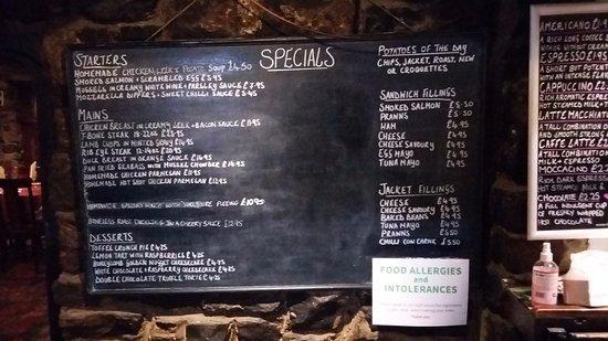 The Lion Inn: Specials board