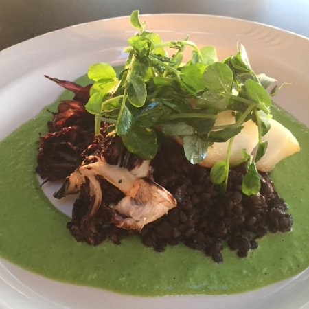 Copake, NY: One of our specials - Pan Roasted Icelandic Cod and Beluga lentils with Grilled Radicchio