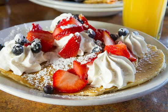 Severna Park, MD: Red White & Blue Pancakes with strawberries, blueberries and whipped cream.