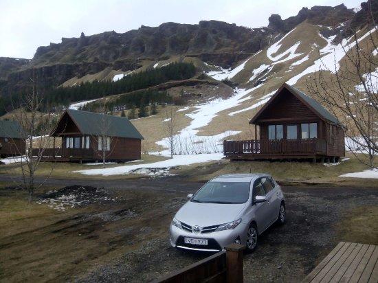 Kirkjubaejarklaustur, İzlanda: vista de los alrededores de la cabaña