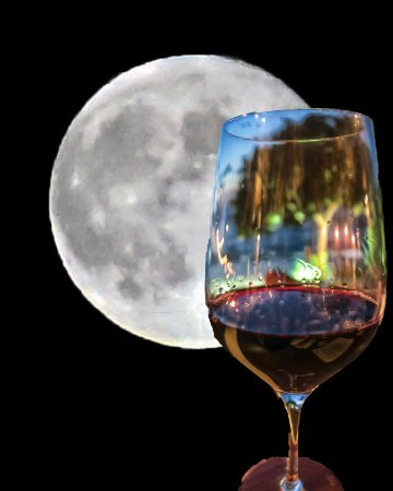 CocoMaya: Wine Glass by the Full Moon: photoshopped 2 pics