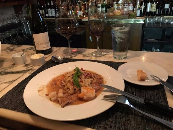 208 Talbot: Veal scallopini with shrimp and homemade fettucine with Attune Pinot Noir
