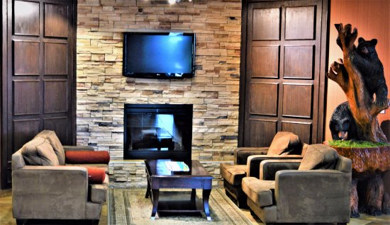 After a cold day in Hudson's Hope, warm up next to our cozy fireplace located in our lobby