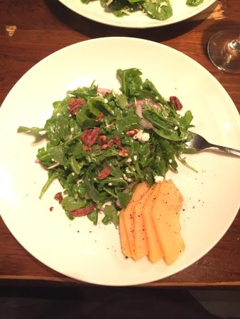 Nesquehoning, PA: Absolutely scrumptious arugula salad with goat cheese, walnuts and cantelope