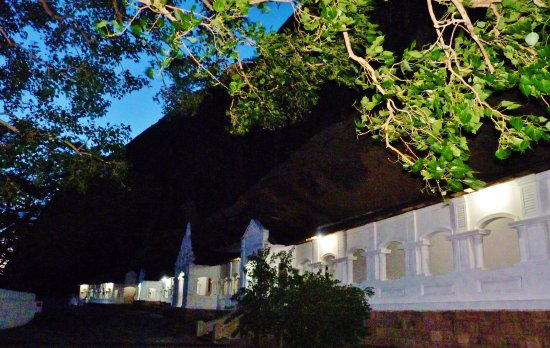 Dambulla, Sri Lanka: Night view of the cave temple from outside