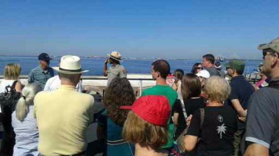 Fort Sumter National Monument: Ranger telling a story and a history lesson.
