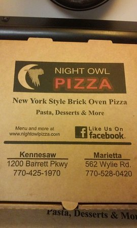 Kennesaw, GA: pizza box showing location information
