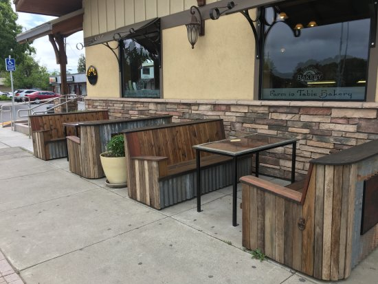 Winters, CA: We have custom buitl outdoor patio seating