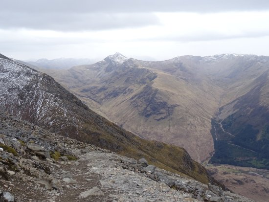 Looking across to the Mamores from the path on Ben Nevis