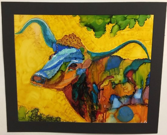 Ol' Blue by Lynda Breeding, local Goliad artist.