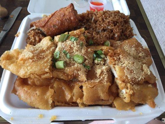 Wyandotte, MI: Almond chicken combo. Huge portions!