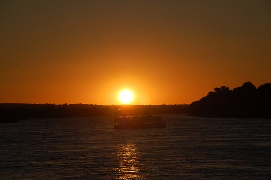 Victoria Falls Waterfront: Sunset over the river