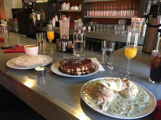 Centennial, CO: Biscuits & Gravy w/egg, Nutella Swirl Griddle Cakes, Breakfast Burrito, and Mimosas