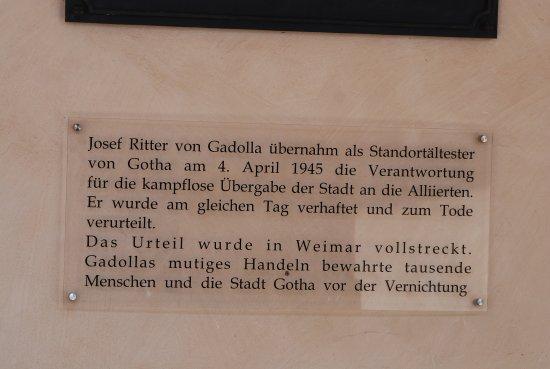 Гота, Германия: Gedenkplatte