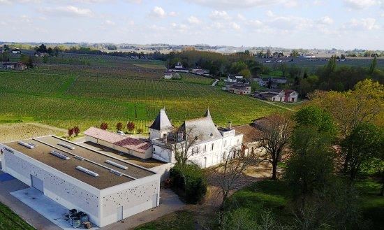 Neac, Frankrike: Nouveau chai en premier plan avec Saint Emilion à l'horizon