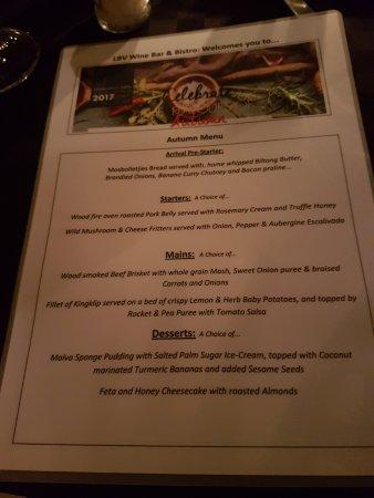 Bryanston, Sudáfrica: Restaurant week menu
